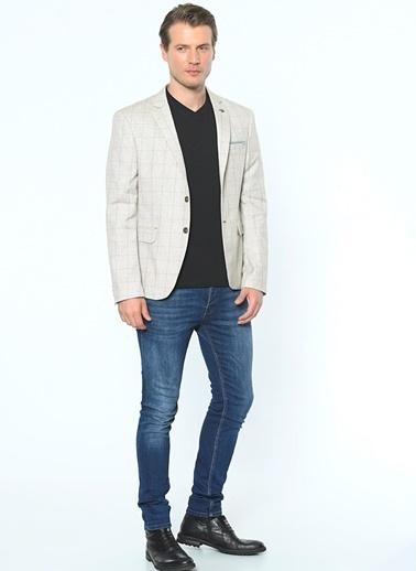 Dewberry Slim Fit Ekose Blazer Ceket Bej